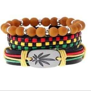 Other - 3Pcs Jamaica Leather Hemp Cord Bracelet set